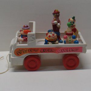 Vtg 1980's Pull Vehicle Toy w/  Circus Clowns Seal